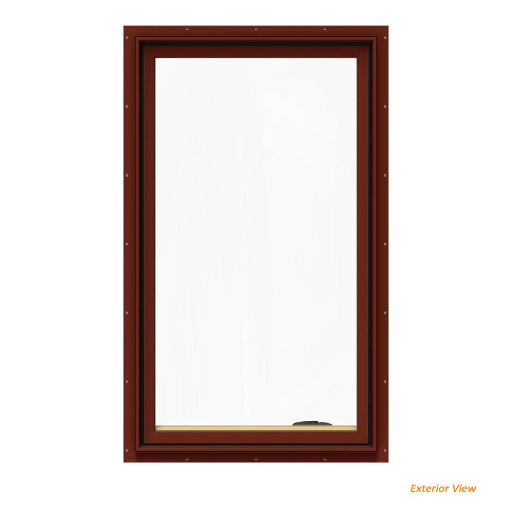JELD-WEN 28.75 in. x 48.75 in. W-2500 Series Red Painted Clad Wood Right-Handed Casement Window with BetterVue Mesh Screen