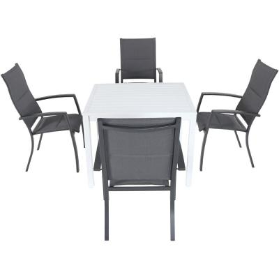 Palmero 5-Piece Aluminum Outdoor Dining Set with 4-Padded Sling Chairs and a 38 in. Square Dining Table
