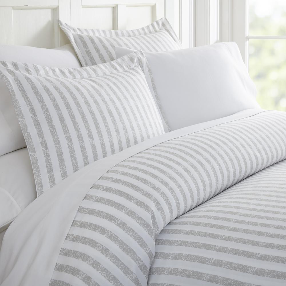 Rugged Stripes Patterned Performance Light Gray King 3-Piece Duvet Cover Set