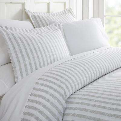 Rugged Stripes Patterned Performance Light Gray King 3-Piece Duvet Cover Set