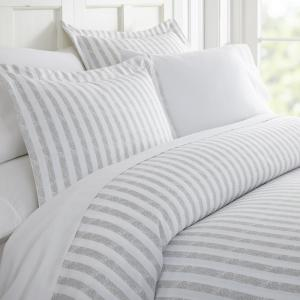 Rugged Stripes Patterned Performance Light Gray Microfiber 3-Piece Duvet Cover Set