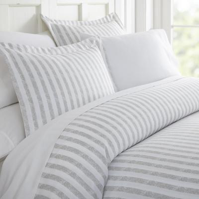 Rugged Stripes Patterned Performance Light Gray Queen 3-Piece Duvet Cover Set
