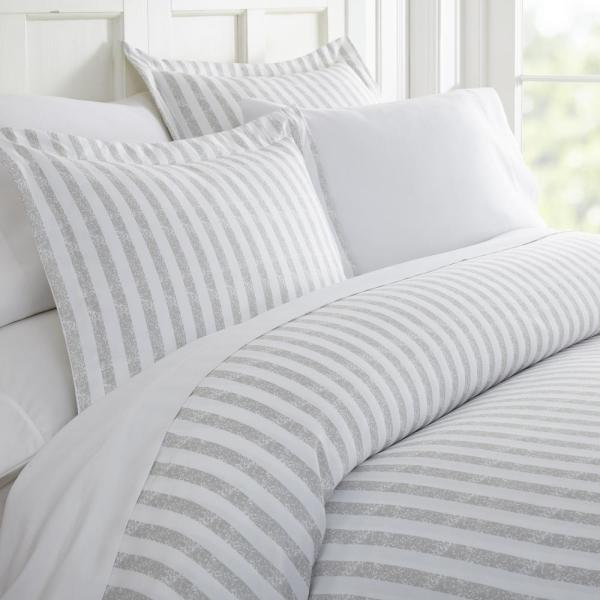 Becky Cameron Rugged Stripes Patterned Performance Light Gray Queen 3-Piece Duvet Cover Set