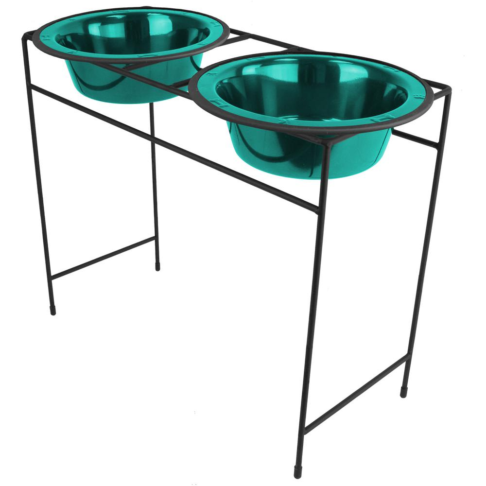 10 Cup Modern Double Diner Feeder with Dog Bowls, Caribbean Teal