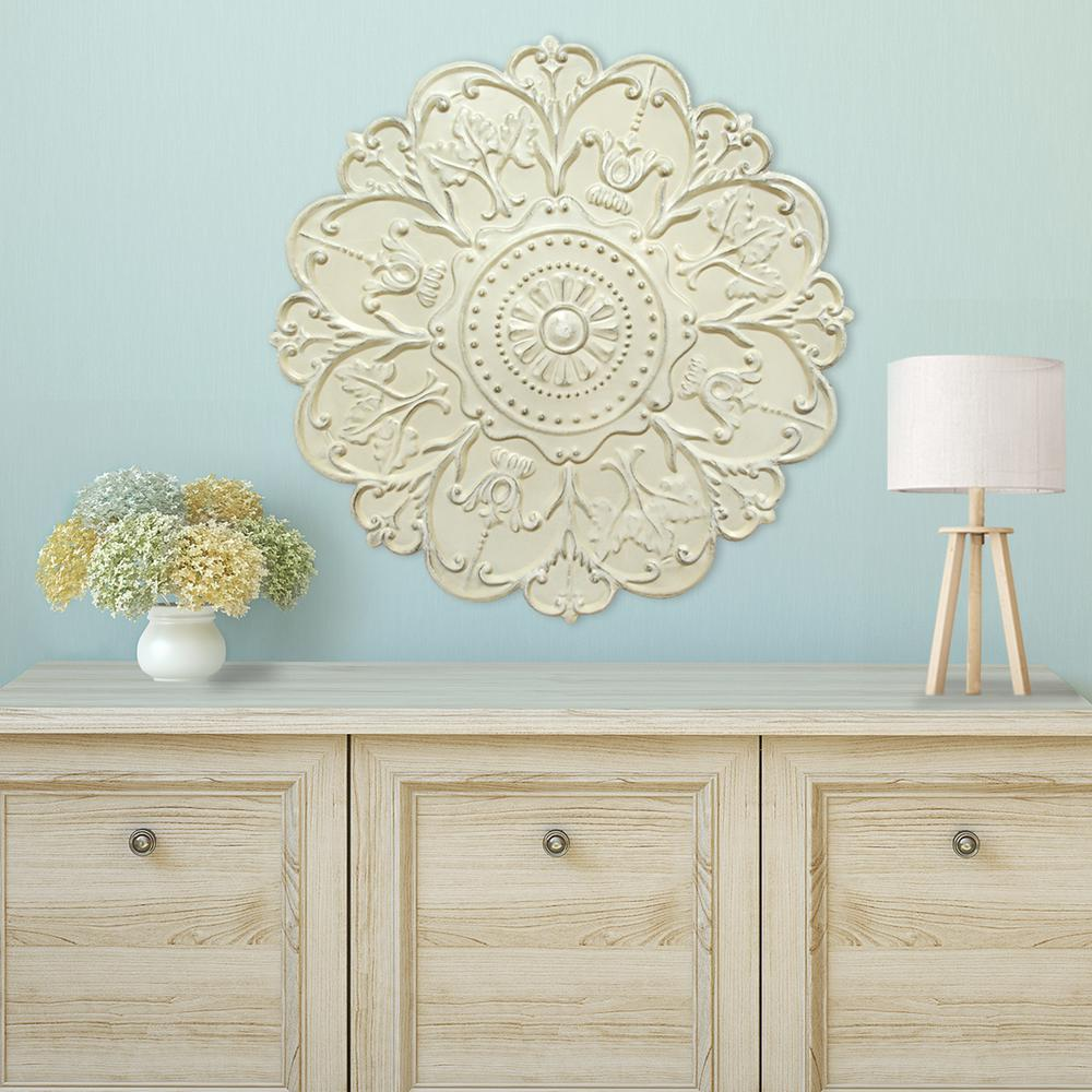 Shabby White Medallion Wall Decor