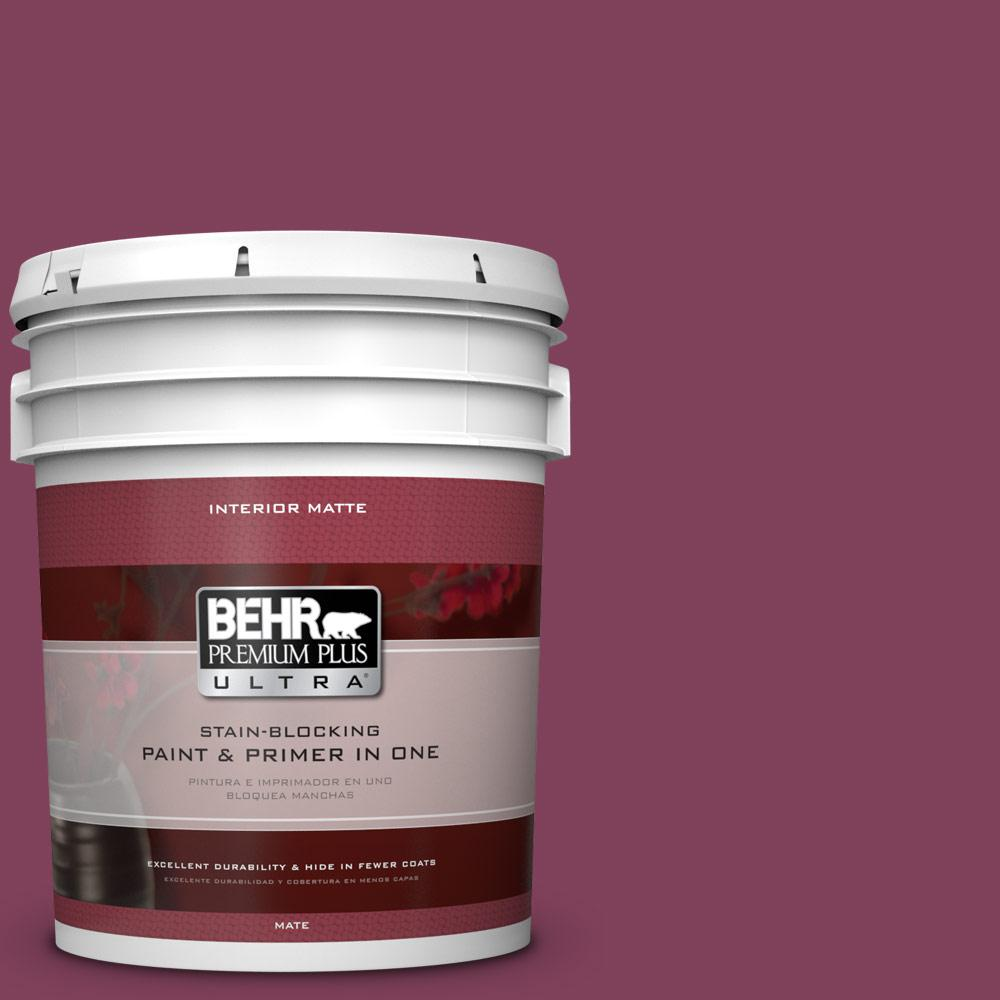 BEHR Premium Plus Ultra Home Decorators Collection 5 gal. #HDC-WR14-12 Cheerful Wine Flat/Matte Interior Paint