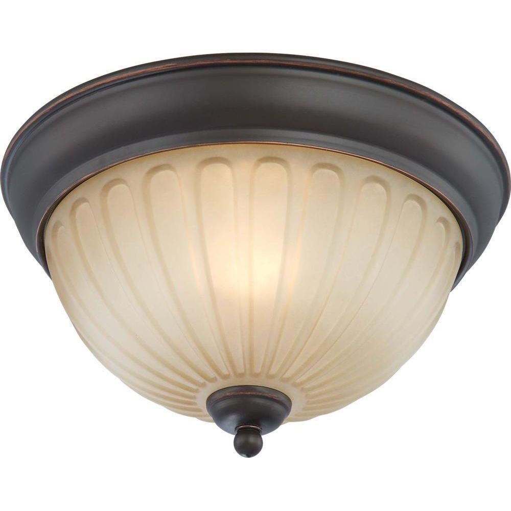 Glomar 1-Light Flush Dome Fixture with Auburn Beige Glass Finished in Sudbury Bronze