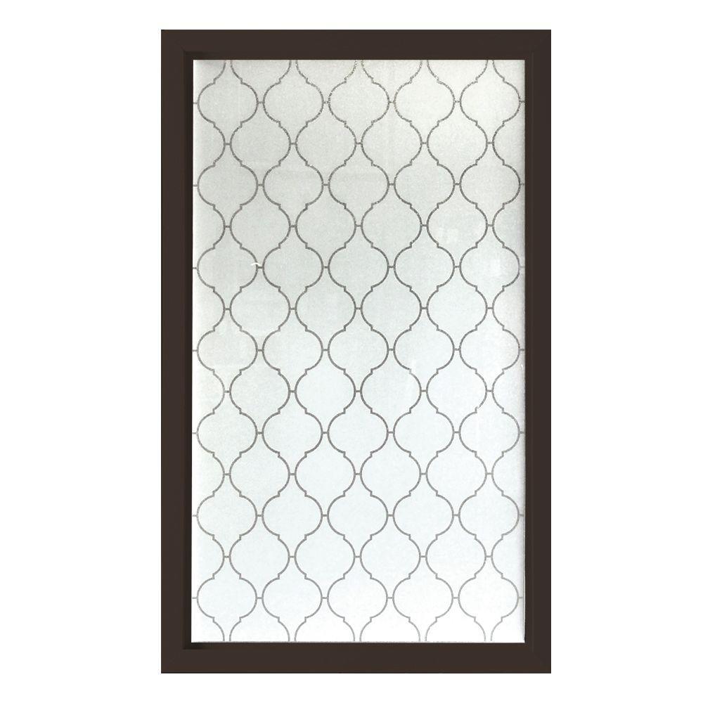 Hy-Lite 35.5 in. x 59.5 in. Baroque Decorative Glass Picture Vinyl Window - Bronze