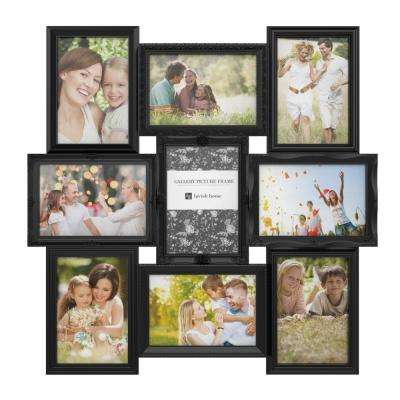 9-Opening 4 in. x 6 in. Black Picture Frame Collage