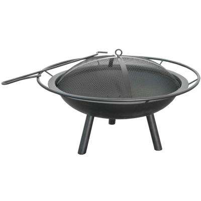 Halo 27.6 in. x 16.5 in. x 27.6 in. Round Steel Wood Burning Fire Pit in Black