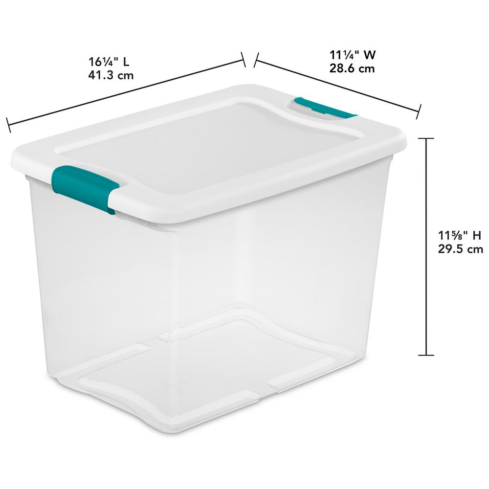 Clear Plastic Latching Container Case Tote Bin 6 PACK Large Storage Box 30 Qt