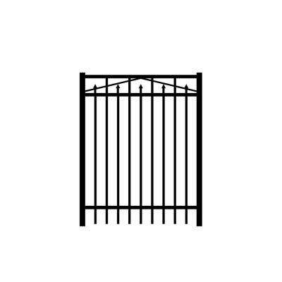 Adams 4 ft. W x 4 ft. H Black Aluminum 3-Rail Fence Gate
