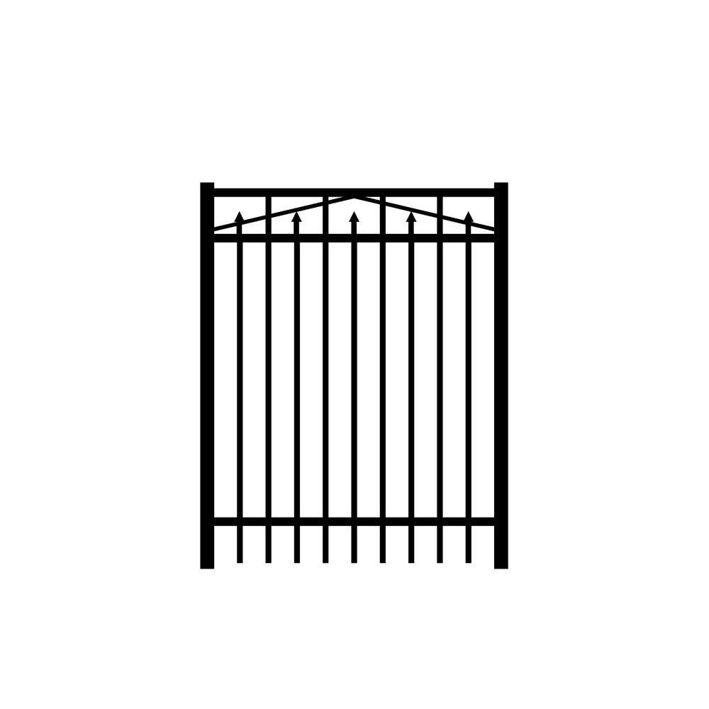 Adams 4 ft. W x 5 ft. H Black Aluminum 3-Rail Fence Gate