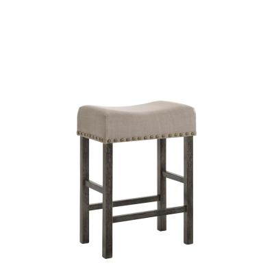 Beige and Gray Wooden Counter Height Stool 26.3 in. with Linen Upholstered Saddle Seat (Set of 2)