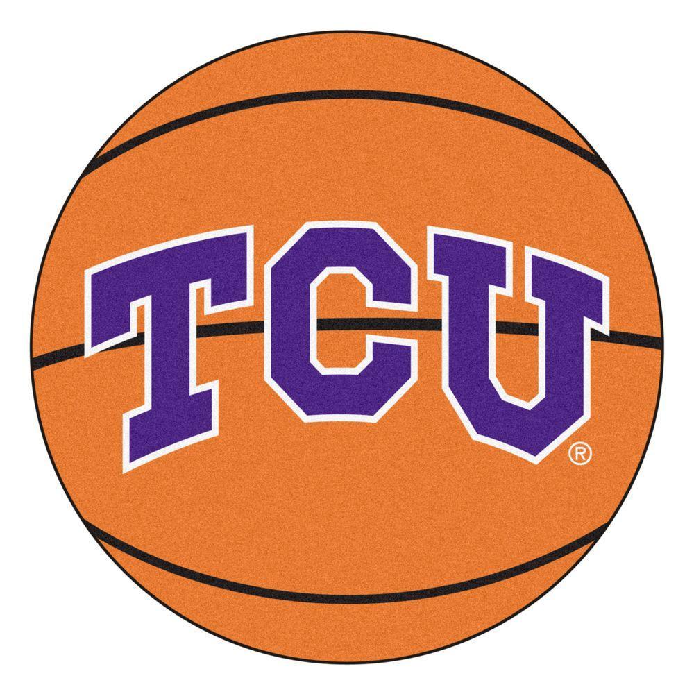NCAA Texas Christian University Orange 2 ft. x 2 ft. Round Area Rug