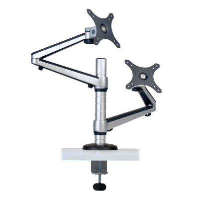 Dual Full Motion Flex Arm Desk Clamp for 13 in. to 27 in. Monitors, Black/Silver