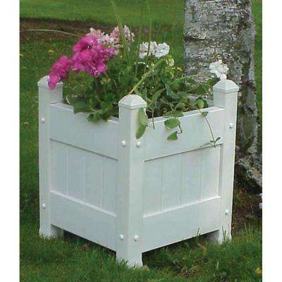 16 in. Square White Vinyl Planter Box