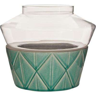 Vidro 9 in. W x 9 in. H Glass Votive Terrarium with Teal Ceramic Dish