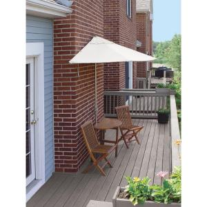 Blue Star Group Terrace Mates Bistro Economy 5-Piece Patio Bistro Set with 7.5 ft. Natural Olefin Half-Umbrella by Blue Star Group