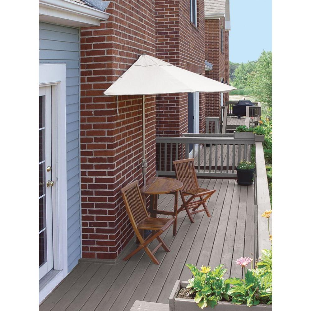 Blue Star Group Terrace Mates Caleo Standard 5-Piece Patio Bistro Set with 9 ft. Natural Sunbrella Half-Umbrella