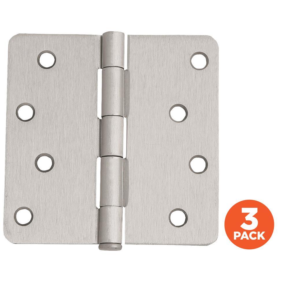 Radius Satin Nickel Door Hinge Value  sc 1 st  Home Depot & Everbilt 3-1/2 in. Satin Nickel 5/8 in. Radius Security Door Hinges ...