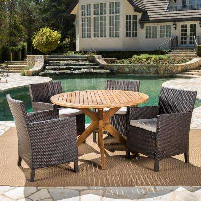 Wes Multi-Brown 5-Piece Wicker Outdoor Dining Set with Light Brown Cushions