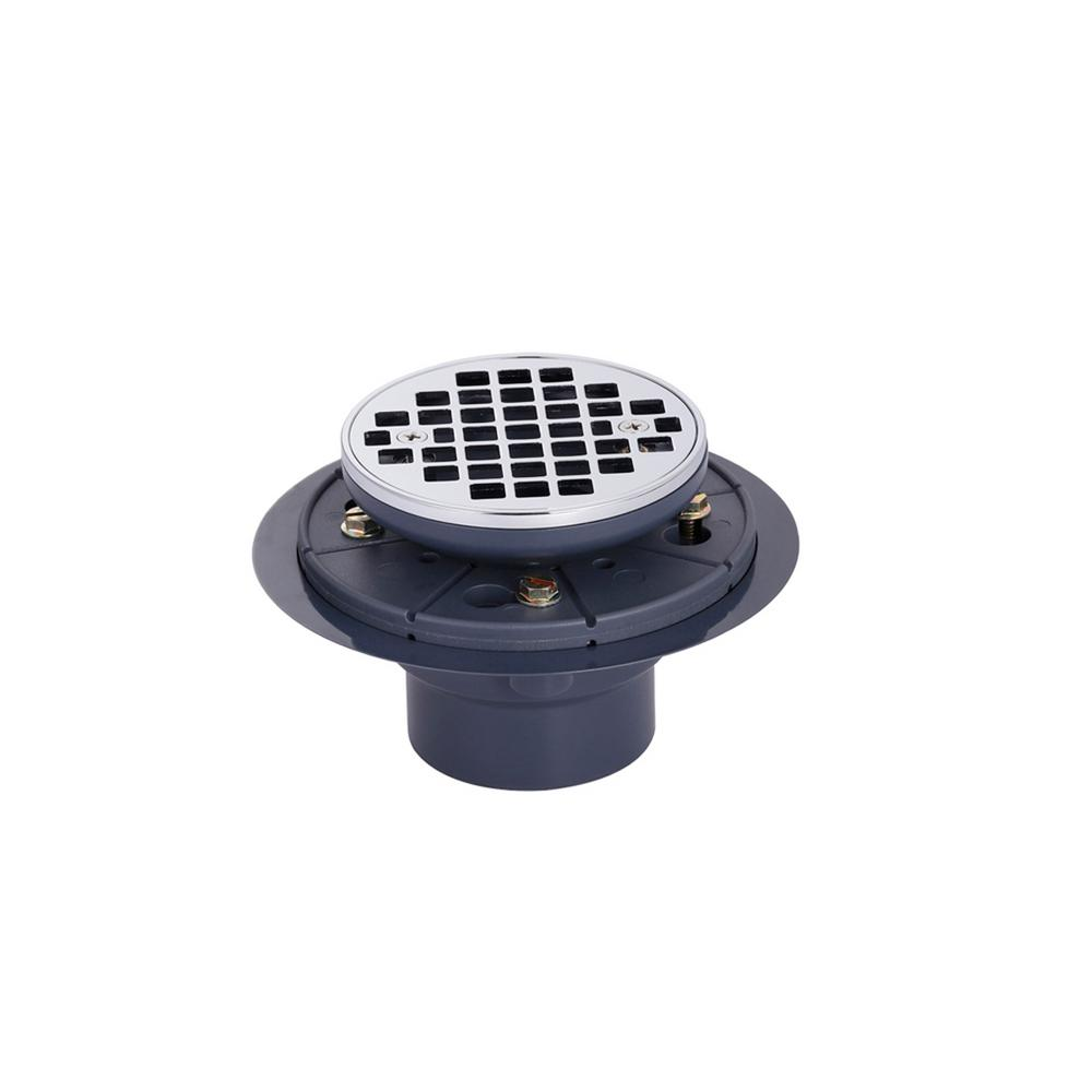 Brass and PVC Round Shower Drain and Strainer in Polished Chrome