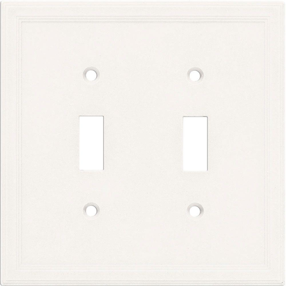 2 Gang Toggle Wall Plate - Bright White