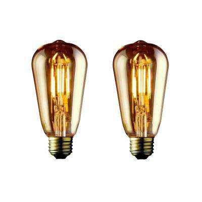 60W Equivalent Warm White ST19 Amber Lens Vintage Edison Dimmable LED Light Bulb (2-Pack)