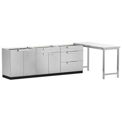 Stainless Steel Classic 4-Piece 160x36x24 in. Outdoor Kitchen Cabinet Set without Counter Tops