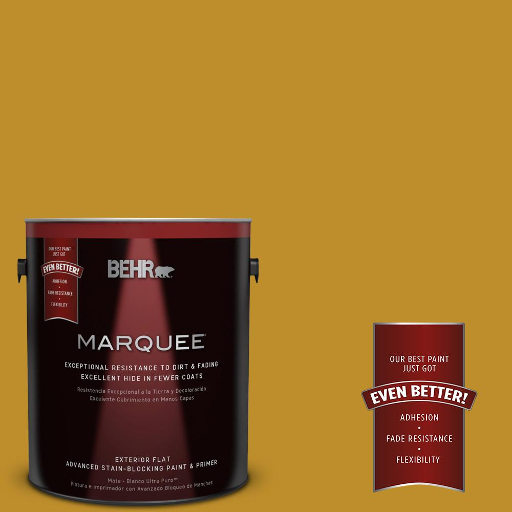 BEHR MARQUEE 1-gal. #360D-7 Brown Mustard Flat Exterior Paint