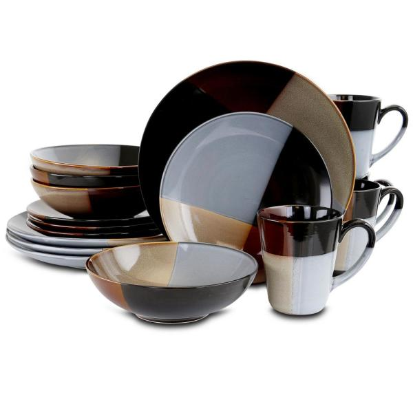 Convergence 16-Piece Casual Assorted Colors Stoneware Dinnerware Set (Service for 4)