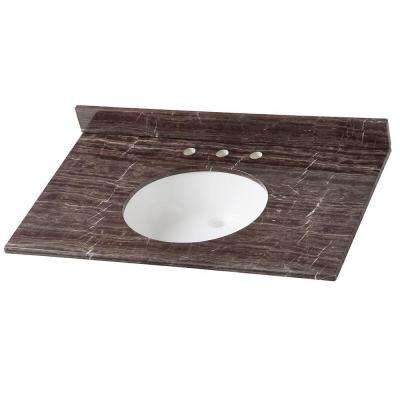 37 in. Stone Effects Vanity Top in Coffee with White Sink
