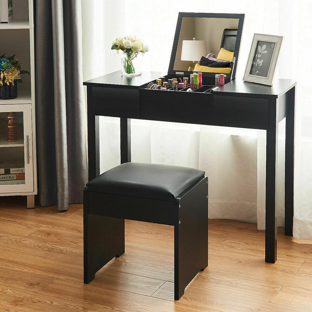 Costway 2-Piece Black Vanity Dressing Table Set Mirrored ...