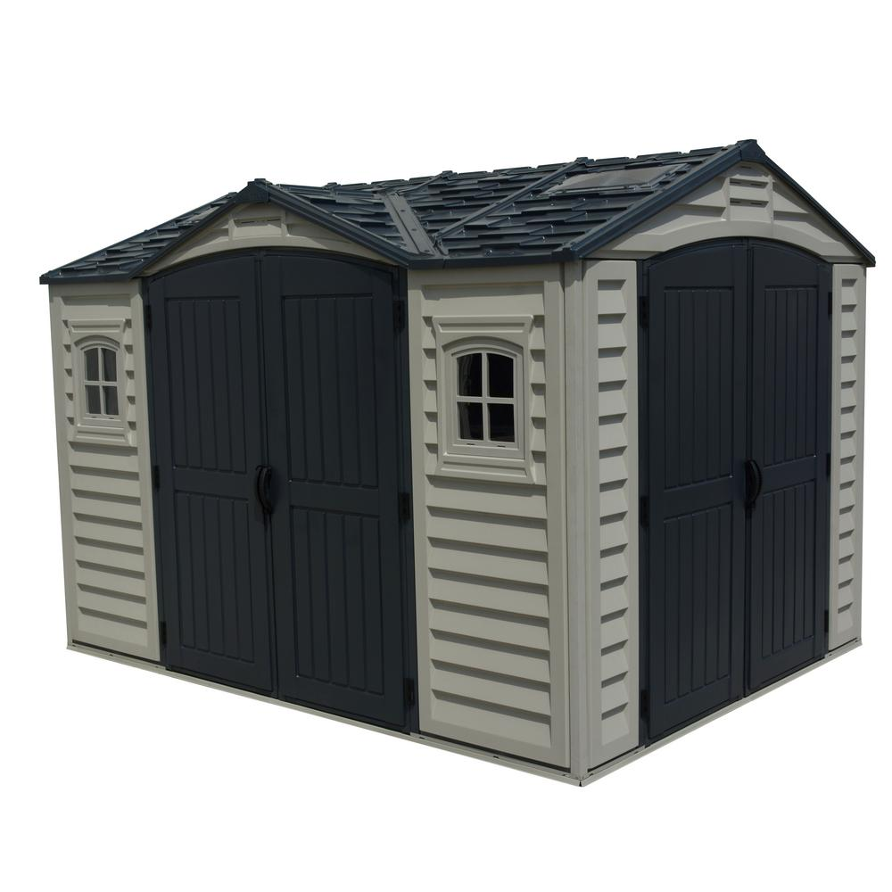 Duramax Building Products Apex Pro 10 7 Ft X 8 2 Ft Vinyl Storage Building 40116 The Home Depot