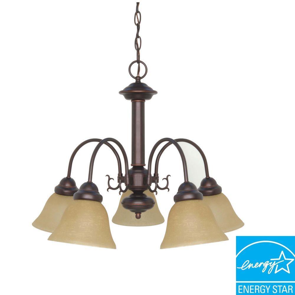 Green Matters 5-Light Mahogany Bronze Hanging Chandelier