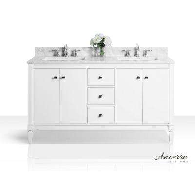 Kayleigh 60 in. W x 22 in. D Vanity in White with Marble Vanity Top in Carrera White with White Basins