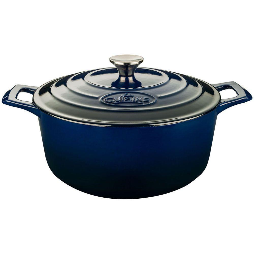2.2 Qt. Cast Iron Round Casserole with Blue Enamel