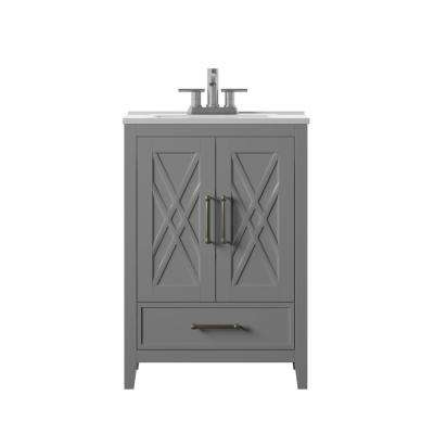 Hamilton 24 in. D x 18 in. W x 34 in. H Bath Vanity in Gray with Vanity Top in White and White Basin