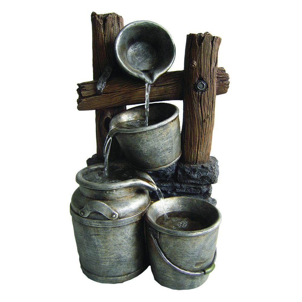 Beckett Silver Buckets on a Fence Fountain by Beckett