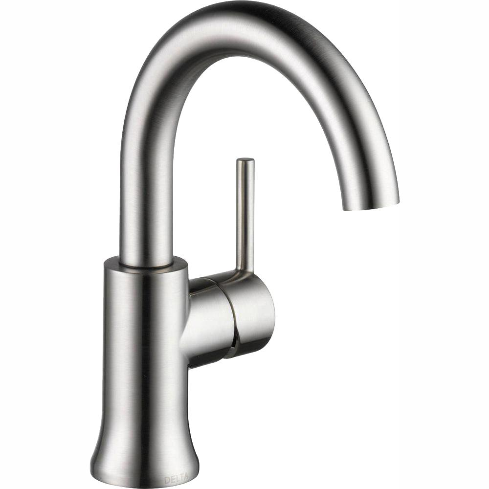 Delta Trinsic Single Hole Single-Handle Bathroom Faucet with Metal Drain Assembly in Stainless