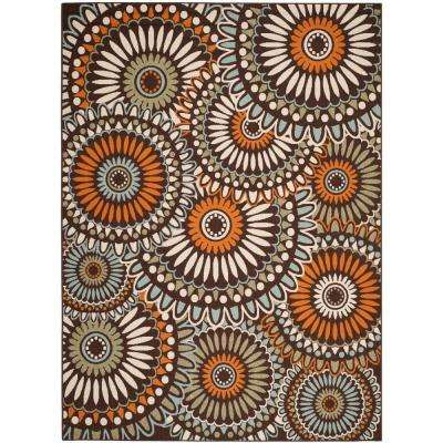 Veranda Chocolate/Terracotta 8 ft. x 11 ft. Indoor/Outdoor Area Rug