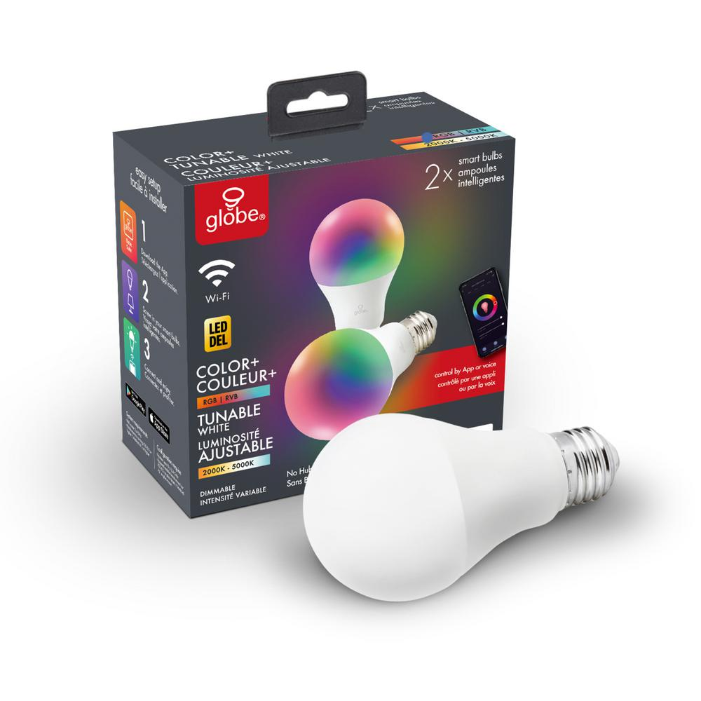Globe Electric Wi-Fi Smart 60W Equivalent Color Changing RBG Tunable White Dimmable LED Light Bulb, No Hub Required, A19, E26 (2-Pack)