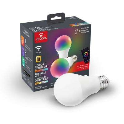 Wi-Fi Smart 60W Equivalent Color Changing RBG Tunable White Dimmable LED Light Bulb, No Hub Required, A19, E26 (2-Pack)