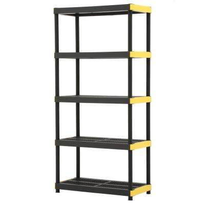 5-Tier Plastic Garage Storage Shelving Unit in Black (36 in. W x 74 in. H x 18 in. D)