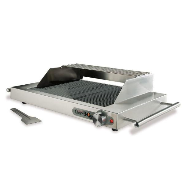 Ribbed Glass Portable Electric Grill in Stainless Steel with Wind/Splatter Shield