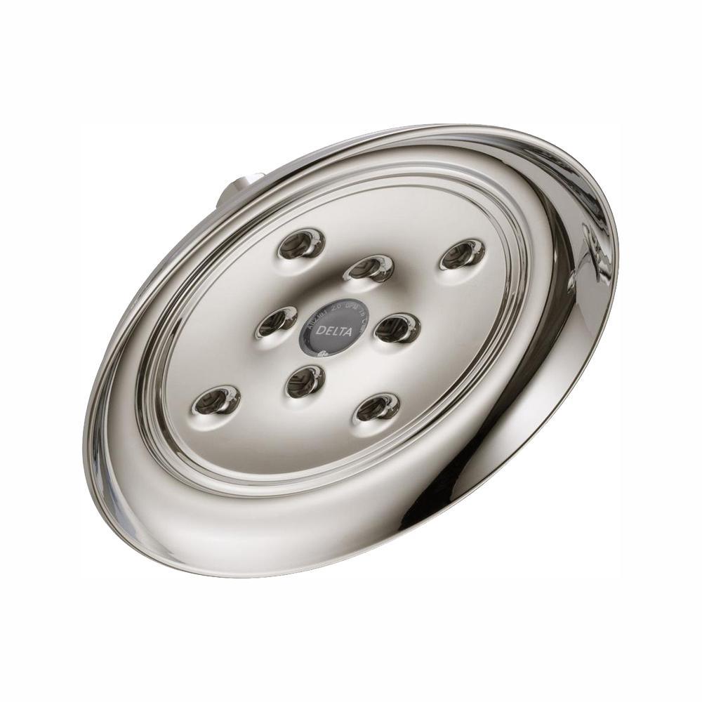 1-Spray 7.9 in. Single Wall Mount Fixed Rain H2Okinetic Shower Head in Polished Nickel
