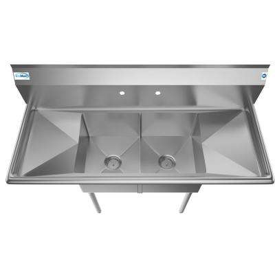 Freestanding Stainless Steel 52 in. 2-Hole Double Bowl Commercial Kitchen Sink