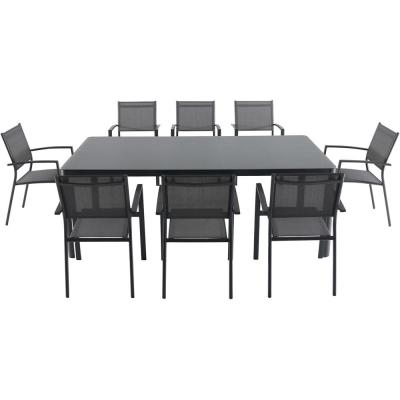 Mesa 9-Piece Aluminum Outdoor Dining Set with 8-Sling Arm Chairs and a 42 in. x 83 in. Glass-Top Table