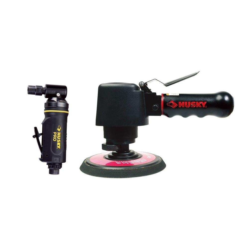 Husky 2-Piece Air Tool Kit with 6 in. Pneumatic Dual Action Sander and 1/4 in. Pneumatic Angle Die Grinder-DISCONTINUED